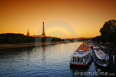 Eiffel tower and seine in Paris
