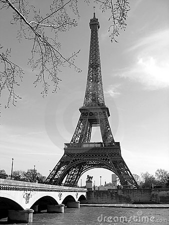 Eiffel Tower with Seine River, Paris, France