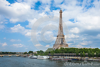 The Eiffel Tower and seine river in Paris, France Editorial Stock Image