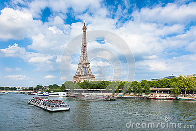 The Eiffel Tower and seine river in Paris, France Editorial Photography