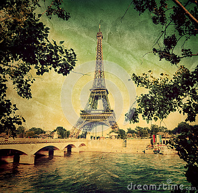 Eiffel Tower and Seine river in Paris, France. Vintage