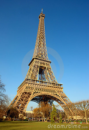 Eiffel Tower Side View Stock Photo Image 8134800