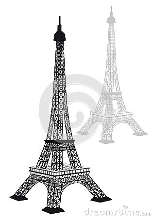 Eiffel tower silhouette, vector