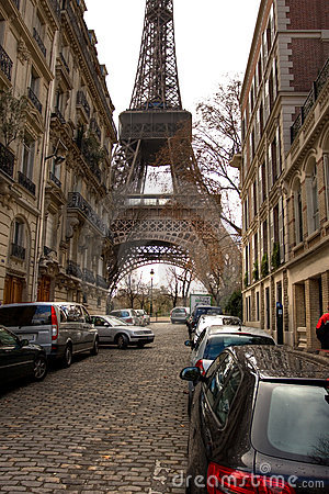 Eiffel Tower On The Street In Paris Royalty Free Stock