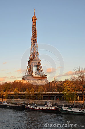 Eiffel tower, sunset, paris