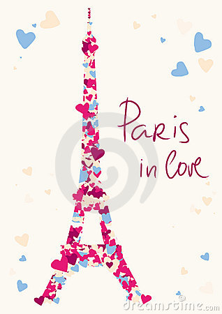 Eiffel Tower tower from hearts.