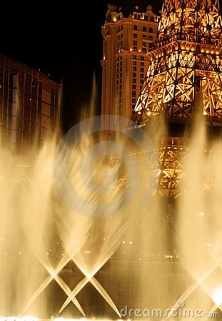Eiffel Tower in Vegas - water view Editorial Image
