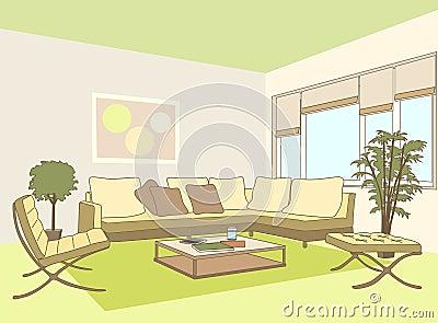 Eigentijdse woonkamer vector illustratie afbeelding 69831764 - Eigentijdse bank ...