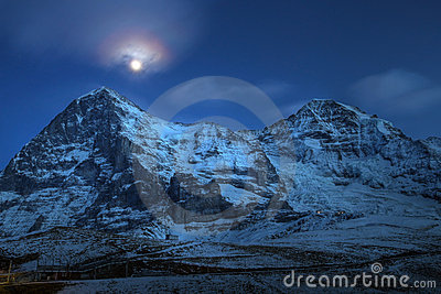 Eiger and Moench at night, Switzerland