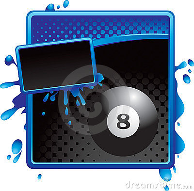 Eight ball on blue and black halftone banner