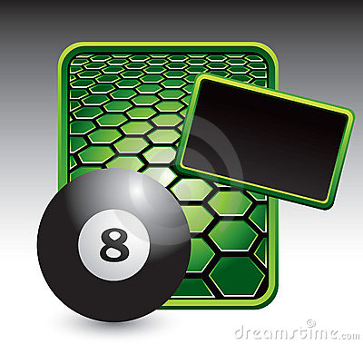 Eight ball on green hexagon advertisement