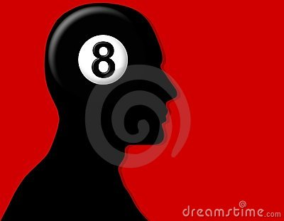 Eight Ball Head Silhouette on Red