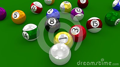 Pool Table Balls Scattered Eight Ball Pool...