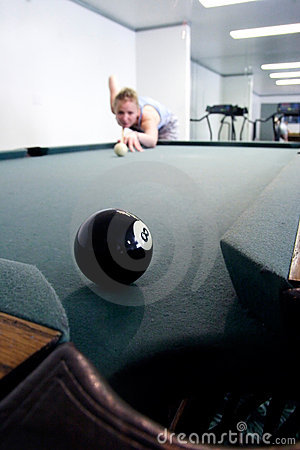 Eight ball to corner pocket
