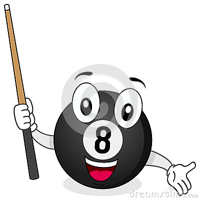 Eight Billiard Ball Character with Cue