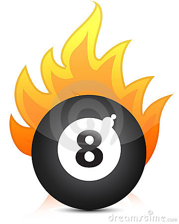 Eight billiard ball in fire