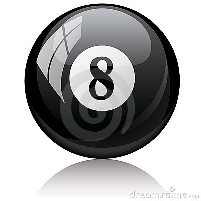 Eight, black - pool ball against white background