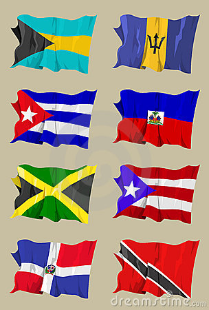 Eight Caribbean flags
