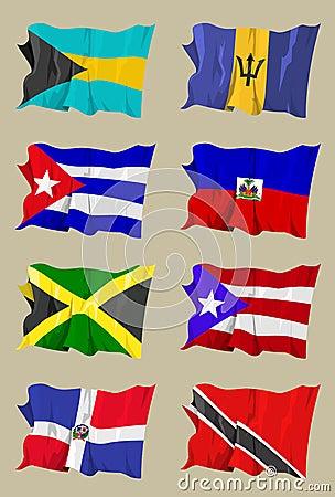 Eight Caribbean flags