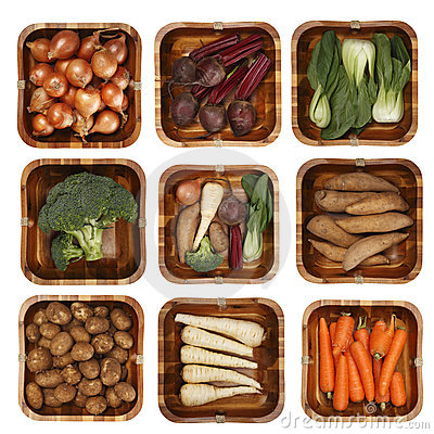 Free Eight Different Vegetables In Wooden Basket Royalty Free Stock Image - 5830886