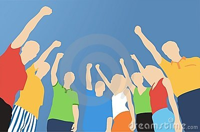 Eight friends with hand up