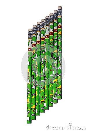Eight green pencils