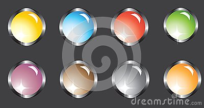Eight multi-colored buttons