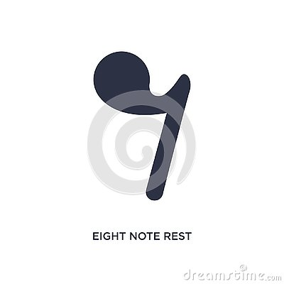 eight note rest icon on white background. Simple element illustration from music and media concept Vector Illustration