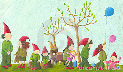 Eight playful dwarfs