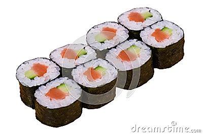 Eight sushi rolls