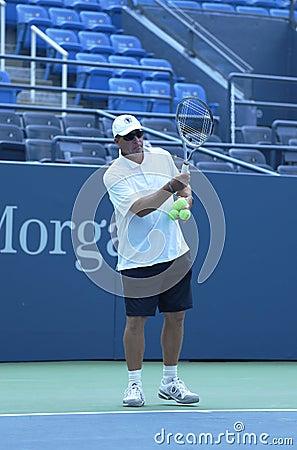 Eight times Grand Slam champion Ivan Lendl coaching two times Grand Slam champion Andy Murray for US Open 2013 Editorial Image