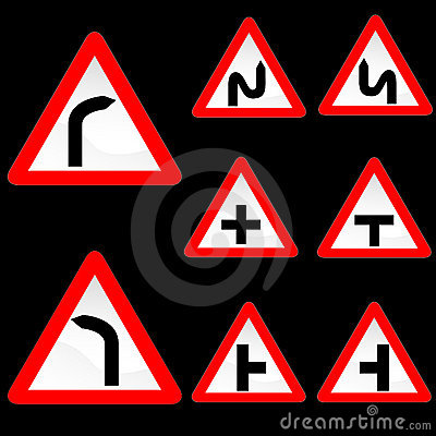 Eight Triangle Shape Red White Road Signs Set 1