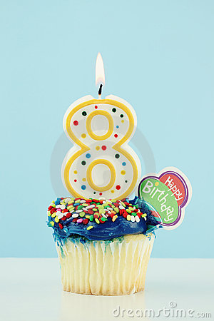 Eighth Birthday Cupcake