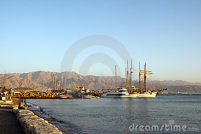 Eilat, Israel, December 2011 - View on the bay Editorial Stock Photo