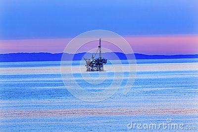 Eilwood Offshore Oil Well Pacific Ocean Sunset California