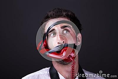 Ein überraschtes telephoneman