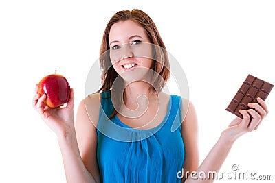 Ein Apfel oder eine Schokolade?