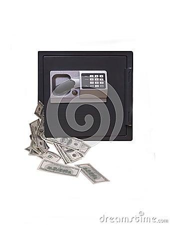 Ein Ausgangssafe, laufend mit Geld über