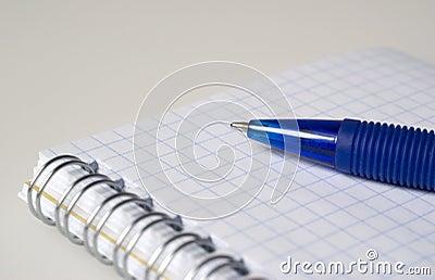 Blauer Stift und Notizbuch