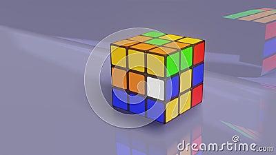 Ein bunter Rubik 's Der Cube löst sich selbst - 3D-Abbildung stock footage