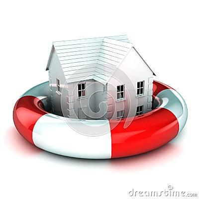 Haus in einem Lifebuoy