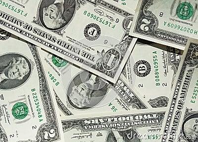 Ein-Dollar und Zweidollar Rechnung