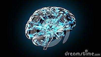Ein drehendes menschliches Gehirn lud elektrisch mit Gedanken auf - lösen Sie 101 HD gedanklich stock abbildung