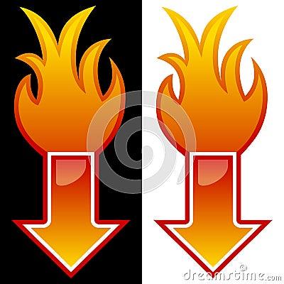 Pfeil mit Flammen