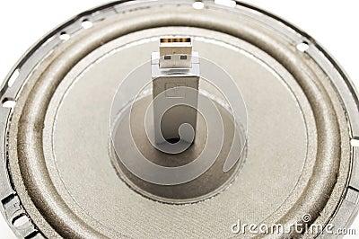 Ein grelles Laufwerk USB und Sprecher
