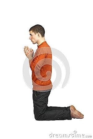 ein mann der auf seinen knien betet stockbilder bild. Black Bedroom Furniture Sets. Home Design Ideas