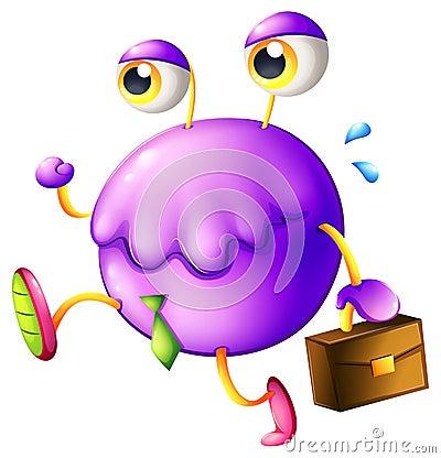 Ein purpurrotes Monster mit einem neuen Job