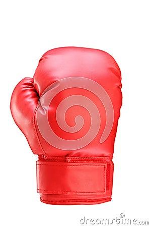 Ein Studio geschossen von einem roten Boxhandschuh