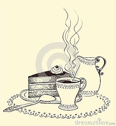 Cake Art Decor Zeitschrift : Ein Tasse Kaffee-, Kuchen- Und Milchkrug Lizenzfreie Stockfotografie - Bild: 16941447