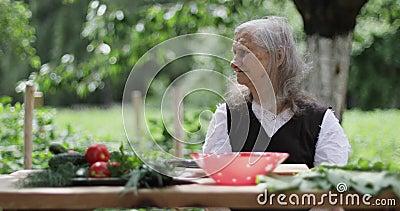Eine alte Frau mit dem losen grauen Haar sitzt an einem Tisch im Garten stock video